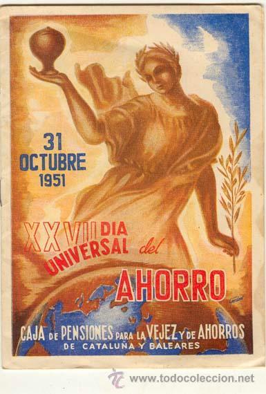 FOLLETO CAJA DE PENSIONES PARA LA VEJEZ Y DE AHORROS 31.10.1951 (Coleccionismo - Documentos - Documentos Bancarios)