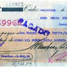 Documentos bancarios: CHEQUE BANCO ARAMBURU HERMANOS - CADIZ. Lote 27546371