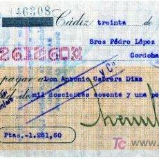 Documentos bancarios: CHEQUE BANCO ARAMBURU HERMANOS - CADIZ. Lote 25603953