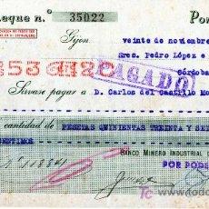 Documentos bancarios: CHEQUE BANCO MINERO INDUSTRIAL DE ASTURIAS - GIJON. Lote 16751224