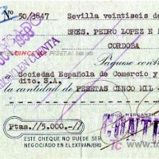 Documentos bancarios: CHEQUE BANCO MERCANTIL E INDUSTRIAL - SEVILLA. Lote 27593716