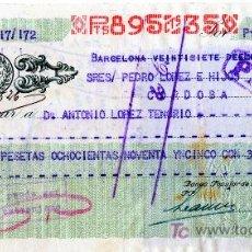 Documentos bancarios: CHEQUE BANCO POPULAR DE LOS PREVISORES DEL PORVENIR - BARCELONA. Lote 25563136