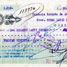 Documentos bancarios: CHEQUE BANCO POPULAR DE LOS PREVISORES DEL PORVENIR - VALENCIA. Lote 20634174