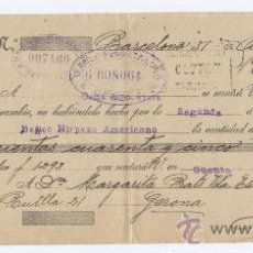 Documentos bancarios: LETRA DE CAMBIO *BANCO HISPANO AMERICANO* - AÑO 1921. Lote 21460713