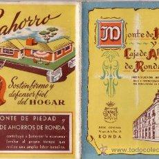 Documentos bancarios: CARTILLA CAJA DE AHORROS DE RONDA - AÑO 1948 - PRECIOSA PORTADA - RARISIMO DOCUMENTO. Lote 20752730