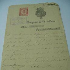 Documentos bancarios: PAGARE.MANUSCRITO MARIANO AGRELA ( GRANADA) 1906 ,SELLO FIJO Y ESCUDO REAL.. Lote 34326391