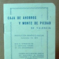 Documentos bancarios: LIBRETA CAJA DE AHORROS Y MONTE DE PIEDAD DE VALENCIA, 1950S. Lote 16773819