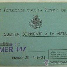 Documentos bancarios: TALONARIO ANTIGUO DE CUENTA CORRIENTE A LA VISTA-CAJA DE PENSIONES PARA LA VEJEZ Y DE AHORROS-AÑO 19. Lote 17796972