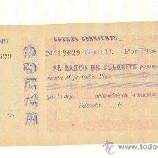 Documentos bancarios: MUY RARO TALÓN DEL BANCO DE FELANITX MALLORCA AÑO 190_ POCOS EJEMPLARES VISTOS. Lote 23117259