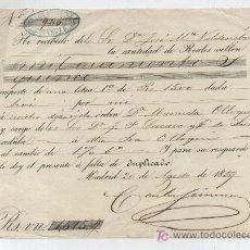 Documentos bancarios: RECIBO DE PAGO DE LETRA DE CAMBIO POR VALOR DE 1515 REALES DE VELLÓN.MADRID 1859. PAGADOS POR D. JO-. Lote 17916675