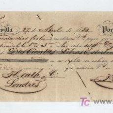 Documentos bancarios: LETRA DE CAMBIO. POR 200 LIBRAS ESTERLINAS. SEVILLA 1857.PAGADERA EN EN LONDRES.. Lote 17925694