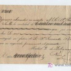 Documentos bancarios: RECIBO DE ABONO EN CUENTA A FAVOR DE D. JOSÉ Mª DE IBARRA. POR 4000 REALES.MADRID 1853.. Lote 17926073