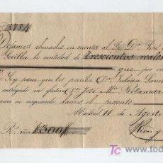 Documentos bancarios: RECIBO DE ABONO EN CUENTA A FAVOR DE D. JOSÉ Mª DE IBARRA. POR 300 REALES.MADRID 1853.. Lote 17926152