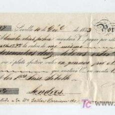 Documentos bancarios: LETRA DE CAMBIO. POR 210 LIBRAS ESTERLINAS. SEVILLA 1853. PAGADERA EN EN LONDRES.. Lote 17926271
