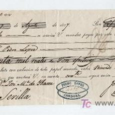 Documentos bancarios: LETRA DE CAMBIO. POR 30.000 REALES DE VELLÓN. CÓRDOBA 1857.. Lote 17926428