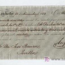 Documentos bancarios: LETRA DE CAMBIO. POR 9.173 REALES DE VELLÓN. MANCHESTER 1850. PAGADERA EN SEVILLA.. Lote 17926818