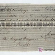 Documentos bancarios: LETRA DE CAMBIO. POR 15.967 REALES DE VELLÓN. MANCHESTER 1853. PAGADERA EN SEVILLA.. Lote 17927850