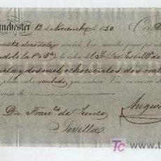 Documentos bancarios: LETRA DE CAMBIO. POR 32.802 REALES DE VELLÓN. MANCHESTER 1850. PAGADERA EN SEVILLA.. Lote 17927898