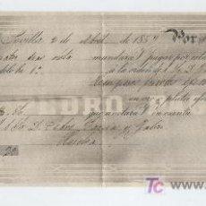 Documentos bancarios: LETRA DE CAMBIO. POR 100 PESOS FUERTES. SEVILLA 1857.PAGADERA EN EN HUELVA.. Lote 17928104