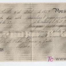 Documentos bancarios: LETRA DE CAMBIO. POR 100 PESOS FUERTES. SEVILLA 1857. PAGADERA EN HUELVA.. Lote 17928194
