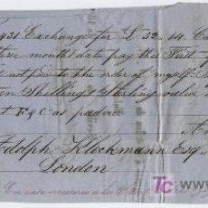 Documentos bancarios: LETRA DE CAMBIO. POR 52 LIBRAS ESTERLINAS Y 14 CHELINES. CADIZ 1857. PAGADERA EN LONDRES.. Lote 17929423