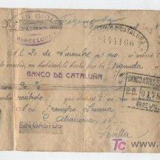 Documentos bancarios: LETRA DE CAMBIO.BARCELONA 1930. CON SELLO ADICIONAL 15 CTS. VERDE ESPECIAL MOVIL.. Lote 17929689