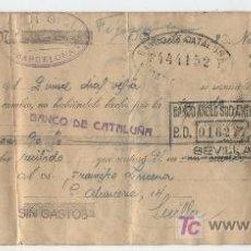 Documentos bancarios: LETRA DE CAMBIO.BARCELONA 1930. CON SELLO ADICIONAL 15 CTS. VERDE ESPECIAL MOVIL.. Lote 17929716