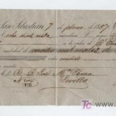 Documentos bancarios: LETRA DE CAMBIO POR 4.000 REALES DE VELLÓN. SAN SEBASTIÁN 1857. PAGADERA EN SEVILLA.. Lote 18148883