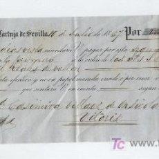 Documentos bancarios: LETRA DE CAMBIO POR 2000 REALES DE VELLÓN.CARTUJA DE SEVILLA 1857.PAGADERA EN VITORIA.. Lote 18149031