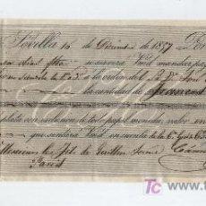 Documentos bancarios: LETRA DE CAMBIO POR 10.000 FRANCOS. SEVILLA 1857. PAGADERA EN PARÍS.MEMBRETE DE CÁMARA HERMANOS.. Lote 18149267