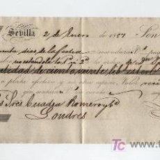 Documentos bancarios: LETRA DE CAMBIO POR 120 LIBRAS ESTERLINAS. SEVILLA 1857. PAGADERA EN LONDRES. MEMBRETE DE LUIS DE. Lote 18149744