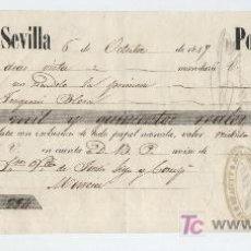 Documentos bancarios: LETRA DE CAMBIO POR !3.500 REALES DE VELLÓN.SEVILLA 1849. PAGADERA EN MURCIA. MEMBRETE DE FRANCISCO. Lote 18149784