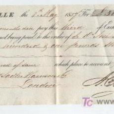 Documentos bancarios: LETRA DE CAMBIO POR 301 LIBRAS ESTERLINAS. SEVILLE 1857. PAGADERA EN LONDRES.MEMBRETE DE A.C.MULLER. Lote 18149938