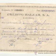 Documentos bancarios: MALLORCA RESGUARDO BANCO DE CRÉDITO CREDITO BALEAR DEL AÑO 1963 MEDIDAS: 18 POR 14 CTMS.. Lote 23829258