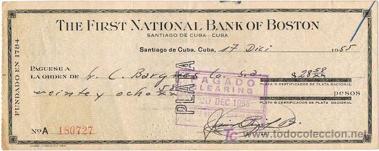 LETRA DE CAMBIO, THE FIRST NAT. BANK OF BOSTON, A LA ORDEN DE SR. BARGNES, SANTIAGO DE CUBA, 1.955 (Coleccionismo - Documentos - Documentos Bancarios)