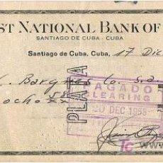 Documentos bancarios: LETRA DE CAMBIO, THE FIRST NAT. BANK OF BOSTON, A LA ORDEN DE SR. BARGNES, SANTIAGO DE CUBA, 1.955. Lote 25486539