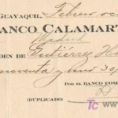 Documentos bancarios: LETRA DE CAMBIO, BANCO CALAMARTE, A LA ORDEN DE GUTIÉRREZ HERMANOS, GUAYAQUIL 1.926. Lote 18797153