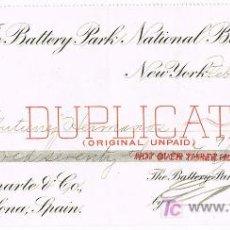 Documentos bancarios: LETRA DE CAMBIO, THE BATTERY BANK NATIONAL BANK, A LA ORDEN DE GUTIÉRREZ HERMANOS, NEW YORK 1.911. Lote 18797593