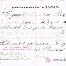 Documentos bancarios: LETRA DE CAMBIO, BANCO DEL ECUADOR, A LA ORDEN DE GUTIÉRREZ HERMANOS, GUAYAQUIL 1.902. Lote 18807050