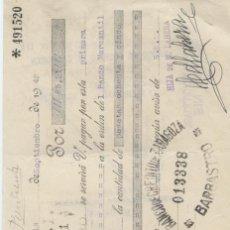 Documentos bancarios: LETRA DE CAMBIO. MADRID. BARBASTRO. ZARAGOZA. 1942. Lote 18836551