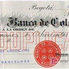 Documentos bancarios: LETRA DE CAMBIO, BANCO DE COLOMBIA, A LA ORDEN DE GUTIÉRREZ HERMANOS, BOGOTÁ 1.916. Lote 47980836
