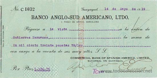 LETRA DE CAMBIO, BANCO ANGLO-SUDAMERICANO, LTDO., A LA ORDEN DE GUTIÉRREZ HERMANOS, GUAYAQUIL 1.919 (Coleccionismo - Documentos - Documentos Bancarios)