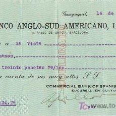 Documentos bancarios: LETRA DE CAMBIO, BANCO ANGLO-SUDAMERICANO, LTDO., A LA ORDEN DE GUTIÉRREZ HERMANOS, GUAYAQUIL 1.919. Lote 18839467
