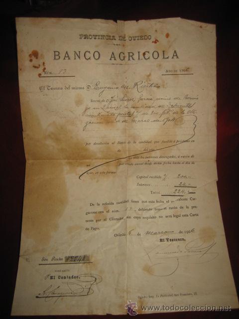 BANCO AGRICOLA PROVINCIA DE OVIEDO DEVOLUCION DE PRESTAMO 1906 (Coleccionismo - Documentos - Documentos Bancarios)
