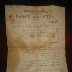 Documentos bancarios: BANCO AGRICOLA PROVINCIA DE OVIEDO DEVOLUCION DE PRESTAMO 1906. Lote 25743150