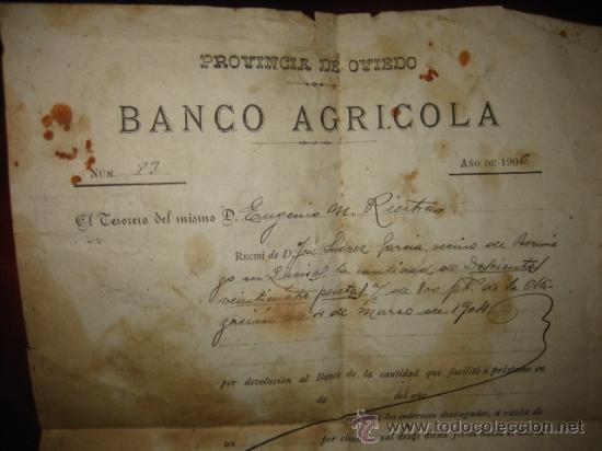 Documentos bancarios: BANCO AGRICOLA PROVINCIA DE OVIEDO DEVOLUCION DE PRESTAMO 1906 - Foto 2 - 25743150