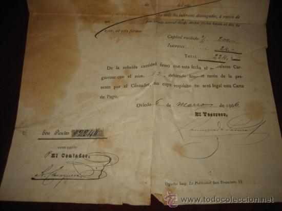 Documentos bancarios: BANCO AGRICOLA PROVINCIA DE OVIEDO DEVOLUCION DE PRESTAMO 1906 - Foto 3 - 25743150