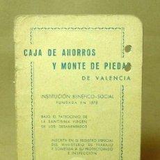 Documentos bancarios: LIBRETA, CAJA DE AHORROS Y MONTE DE PIEDAD, VALENCIA, 1961. Lote 19203261