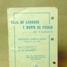 Documentos bancarios: LIBRETA, CAJA DE AHORROS Y MONTE DE PIEDAD, VALENCIA, 1967, ANULADA. Lote 19203296