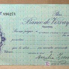 Documentos bancarios: CHEQUE BANCARIO, BANCO DE VIZCAYA, 1940S, FIRMADO, BILBAO, SANTIAGO DE LA MUELA ESCOLANO. Lote 19928151